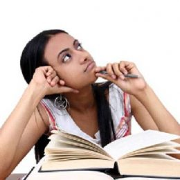 Image Showing A Girl Thinking About Concentration While Studying.
