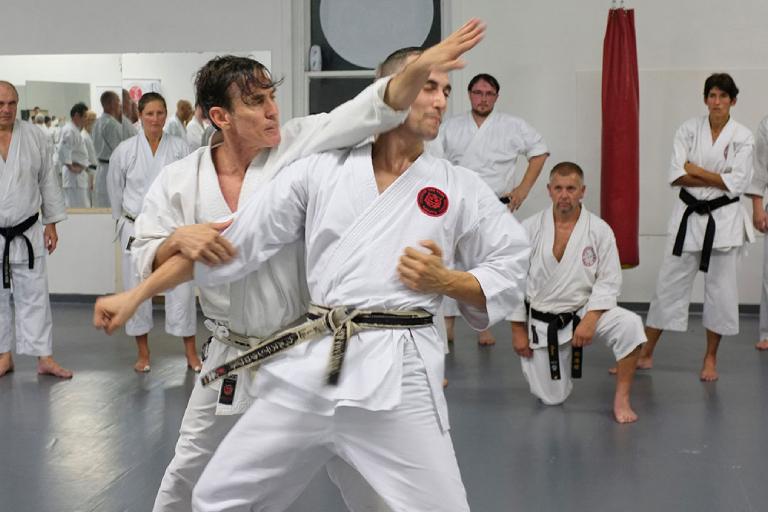 Image showing young men practicing shotokan karate method.