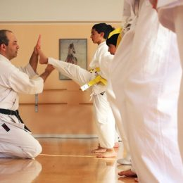 Image Showing a karate coach teaching an attitude to his student.