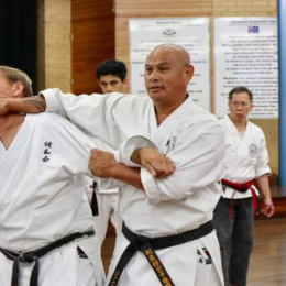 Image Showing Master Teaching Defending Knifehand Technique To Their Students.