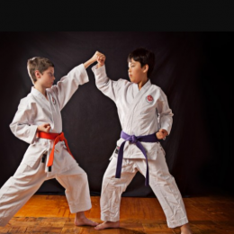 Image Showing Two Kids Practicing Their Defending Techniques Against a black background.