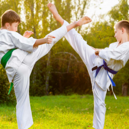 An Image of Two Boys Training Martial Arts Against Outdoor Background.