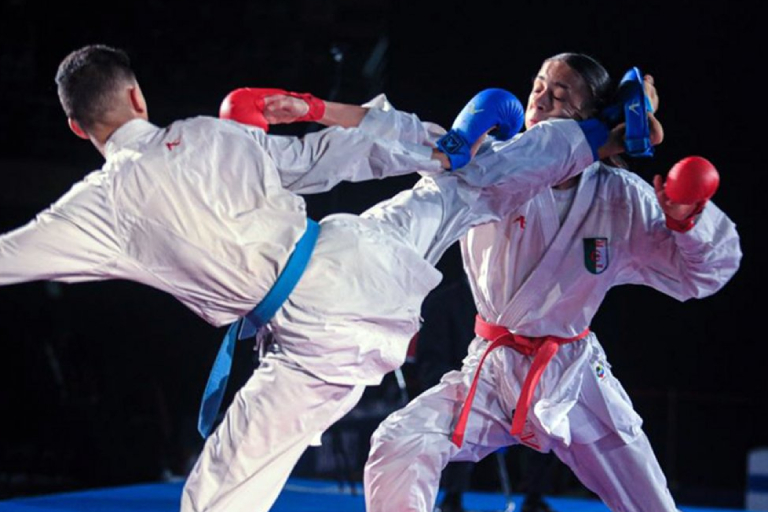 Two Male Martial Art Fighters On Action In Their Karate Training Session.