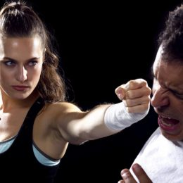 Young Fit Woman Fighting With A Man.