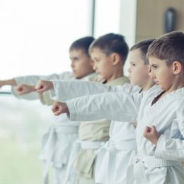 Group Of Little Kids In Their Karate Training Session.
