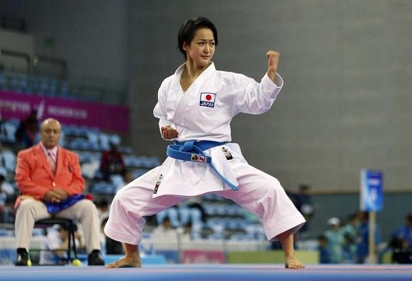 A Female Karate Fighter In A Tournament.