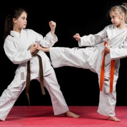 A Shot Of Two Kids Training Karate Martial Arts.